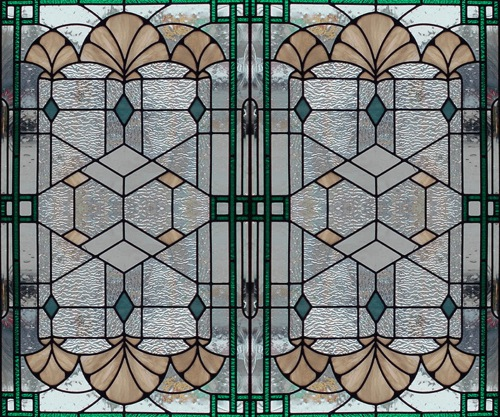 art deco borders. art deco shells stained glass